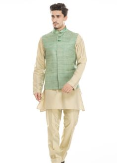 Find this summer elegance Kurta with Monga silk band collar Waistcoat set by Diwan Saheb. Find it here : http://ctaare.com/stores/diwan-saheb/white-color-band-collar-cotton.html