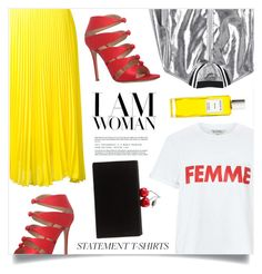"""Say It Loud: Slogan T-Shirts"" by marina-volaric ❤ liked on Polyvore featuring Miss Selfridge, Loyd/Ford, Sans Souci, Edie Parker, Gianvito Rossi, Rodin and slogantshirts"