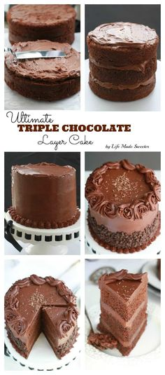 photo collage - triple layer devil's chocolate cake with milk chocolate frosting and partially covered with mini chocolate chips.