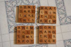 Coffee themed Scrabble Coaster Set Set of 4 FREE SHIPPING by TaylorArtsStudio (also personalized option available)