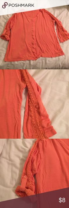 Coral Knit Top Sz XL Great for Spring/Summer!!!! Coral knit top Sz XL Shirt: 83% rayon 17% linen. Detail on sleeves: 100% cotton.  3/4 sleeve Dress Barn Tops Tees - Long Sleeve