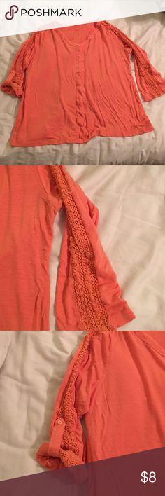 Coral Knit Top Sz XL Coral knit top Sz XL Shirt: 83% rayon 17% linen. Detail on sleeves: 100% cotton.  3/4 sleeve Dress Barn Tops Tees - Long Sleeve