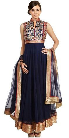 Tantalizing Navy Blue Color Churidar Style In Long Anarkali Look.