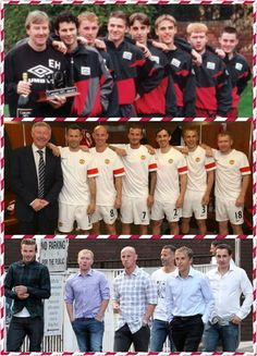 Yesterday & Today David Beckham Ryan Giggs Gary Neville Philip Neville Nicky Butt Paul Scholes Manchester United (The Best Team Ever) Manchester United Legends, Manchester United Players, Yesterday And Today, David Beckham, Theatre, Soccer, The Unit, Football, Dreams