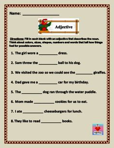 2 Nouns and Verbs Worksheets Adjective Fill In The Blank Worksheet 5 page of 8 sentences Nouns And Verbs Worksheets, Proper Nouns Worksheet, Adjectives Activities, Worksheets For Grade 3, Adjective Worksheet, Nouns And Adjectives, Plural Nouns, Handwriting Worksheets, 2nd Grade Spelling Words
