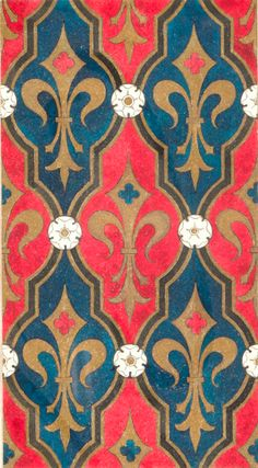 Pattern design by Wilhelm Pastern (1872-1954), pattern book 'Ecclesiastical decorative paintings in the style of the Middle Ages', pattern with French Lilies