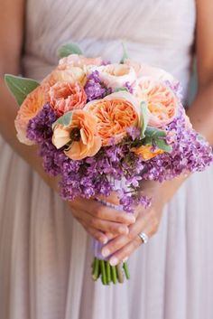 peach and lavendar wedding | found on stylemepretty com