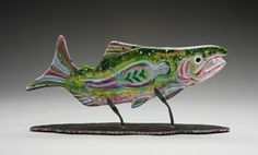 """""""Salmon Woman"""" Cast Glass on hand-forged metal stand by Ruth Brockmann Slumped Glass, Sandblasted Glass, Fused Glass, Glass Wall Art, Stained Glass Art, Art Connection, Seattle Art, Kiln Formed Glass, Dragonfly Art"""