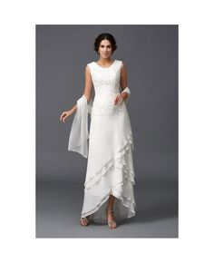 A-line Scoop Neck Ankle-length Chiffon Wedding Dress With Lace
