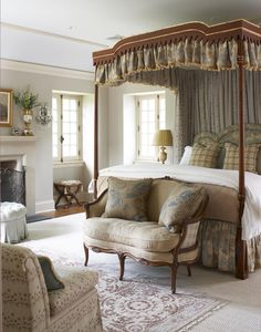 Rinfret, Ltd. - Bedrooms by Cindy Rinfret. FABRIC on bed, love the little seat, pillow fabric on bed.