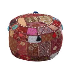 A gorgeous ottoman for the truly bohemian decor, the Surya 22 in. Round Cotton Pouf – Maroon features a classic patchwork design in ravishing. Pouf Ottoman, Red Ottoman, West Elm, Living Room Seating, Living Rooms, Living Area, Dot And Bo, Accent Furniture, Pipe Furniture