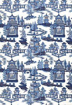 Schumacher Nanjing Fabric Porcelain Blue by the yard #Schumacher