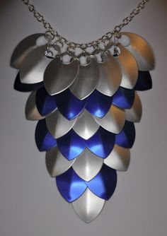 Blue and Silver Scale Maille Bib Necklace £15.00