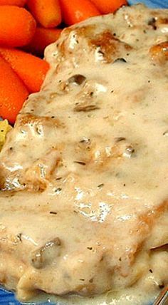 Baked Pork Chops with White Wine Mushroom Sauce ❊