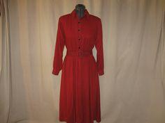 Vintage 80s Buffalo Plaid Red Black Check Belted Full Circle Shirt Dress Medium