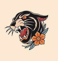 Biker Tattoos, Leg Tattoos, Black Tattoos, Tattos, Tattoos For Guys, Traditional Compass Tattoo, Traditional Panther Tattoo, Desenhos Old School, Black Panther Tattoo