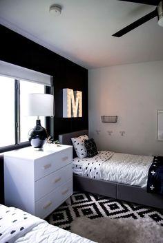 Black and White Modern Kids Room #and #Kids #Black Boys Bedroom Decor, Room Ideas Bedroom, Small Room Bedroom, Modern Kids Bedroom, Boys Black And White Bedroom, Bedroom Furniture, Master Bedroom, Black White, Girls Bedroom