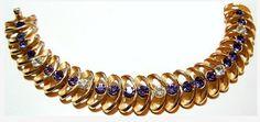 Crown Trifari Bracelet Purple Amethyst by BrightgemsTreasures