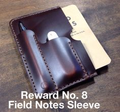 Reward No. 8 for Koch Leather Kickstarter campaign. Horween Field Notes Sleeve.