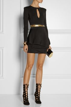Balmain | Stretch-twill peplum mini dress | NET-A-PORTER.COM. My personal Fav