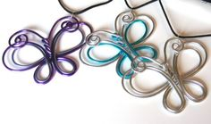 Double Butterfly Wire Necklace Choose your by RefreshingDesigns