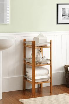 Altra Furniture Cherry Bamboo Bathroom Tower
