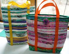 Ravelry: PassionToCreate's Recycled Plastic totes Love the bright colors!