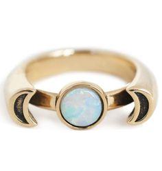 Pamela Love 10K Gold Luna Ring w/ Opal