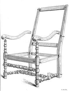Tiré du Livre le Mobilier Français de H Magne aux éditions Henri Laurens (éditer en 1920), je continue a vous faire partager les documents et plans très intéressants concernant pour cet article un fauteuil Louis XIII.