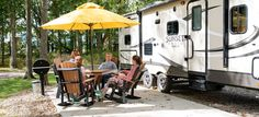 Rv Camping, Campsite, Best Rv Parks, Cement Patio, Rv Sites, Fish Ponds, Shade Trees, Dog Park, Workout Rooms