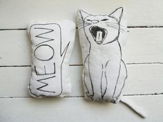 set of 2 pillows cat pillow meow nursery room decor soft toys gift idea for cat lovers home