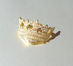 Vintage Rhinestone Brooch Gold Crown Sparkling by retrogroovie, $16.00