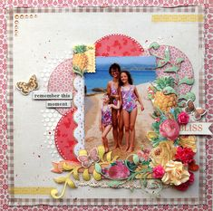 Summer layout with Tropical Punch Baby Scrapbook, Travel Scrapbook, Scrapbook Paper Crafts, Scrapbook Pages, Kids Pages, Special Pictures, Do It Yourself Crafts, Photo Layouts, Scrapbooking Layouts