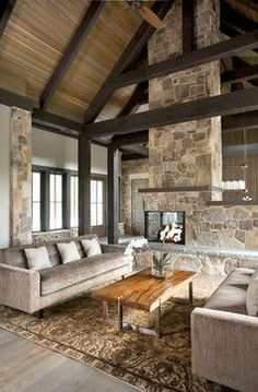 To dream. Rustic modern design. Vaulted ceiling, exposed beams, clean lines, wood, stone metal. Greenville Mountain Contemporary Home