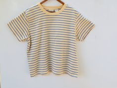 Cropped 90s L.L. Bean Yellow and Blue Striped T-Shirt / Size S or M