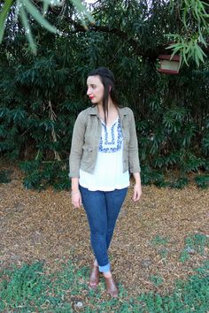 @Forever21 Cargo Jacket + @OldNavy Embroidered Top + @gap Skinny Jeans + @target Booties  #fall #fashion #outfit