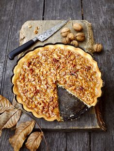 Sounds like a winning recipe for an after-dinner treat! // Walnut Caramel Tart #desserts #sweets #nuts