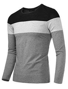 24c423b9a87b09 HEMOON Men s Casual Slim Fit Contrast Color Long Sleeve T-Shirt Tee