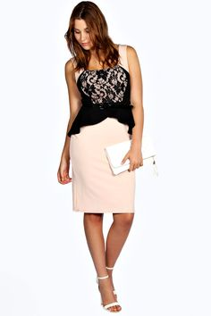 Lizzy Lace Detail Peplum Midi Dress at boohoo.com