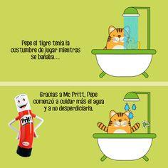 Desde que Pepe el tigre supo que se gastaban 10 litros de agua por minuto al bañarse, decidió cuidarla. ¡Cuidemos del agua junto a #MrPritt! Comparte la historia. #Pritt #Pegamento #CreaConPritt #Agua #MedioAmbiente
