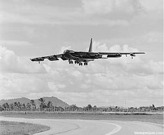 A USAF B-52 comes in to land at U-Tapao Air Base in Thailand after a mission over South Vietnam.    Photo taken: 30 October 1972