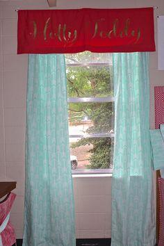 Custom monogrammed dorm room window treatment  Add Sorority letters and school spirit