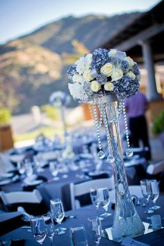 blue reception wedding flowers, wedding decor, wedding flower centerpiece, wedding flower arrangement, add pic source on comment and we will update it. can create this beautiful wedding flower Arrangement Blue Wedding Centerpieces, Wedding Flower Arrangements, Flower Centerpieces, Floral Arrangements, Wedding Decorations, Centerpiece Ideas, Decor Wedding, White Centerpiece, Wedding Ideas
