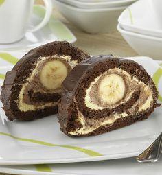 Banános, csokoládés tekercs (elefántkönny) – Receptletöltés Pancakes, Cheesecake, Muffin, Breakfast, Recipes, Food, Basel, Basket, Kuchen