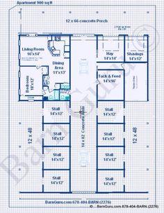 North Carolina Horse Barn with Loft Area [Floor Plans] | Woodtex ...