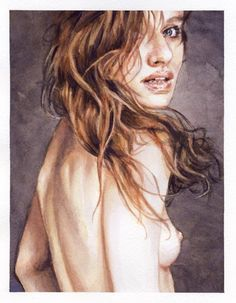 nude watercolor female portrait painting  by Ben Temples   http://smoothdaddyride.blogspot.com/