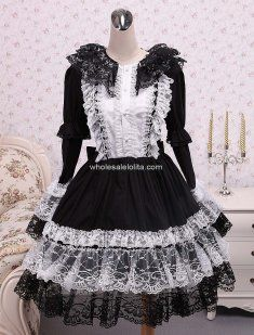 Gothic Black Long Sleeves Cotton Lolita Dress