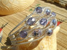 Purple silver wire wrapped bracelet glass cuff wire by catinalife, $62.00