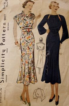 Simplicity 2017 /Dress Sewing Pattern /1930s Dress/ Bust 36/ Factory Folded /Not Used RARE