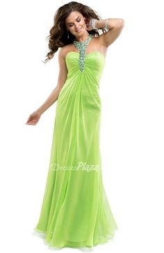 Lime Chiffon Floor Length Prom Dress with Jeweled Halter Neck at Dressesplaza.com